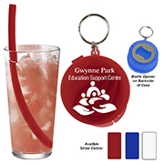 """""""STINSON"""" 10"""" Reusable Silicone straw in Bottle opener case"""