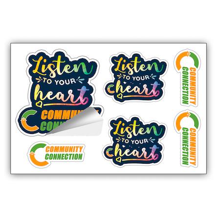 """CustomCut ™"" One-Sheet Full Color Custom Shape Removable Vinyl Sticker/Decals"