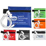 """""""ZipTune"""" Mobile Tech Earbud Kit In Zipper Pouch Components inserted into Polyester Zipper Pouch"""