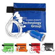"""CarCharge Plus"" Mobile Tech Car Accessory Kit Components inserted into Polyester Zipper Pouch"