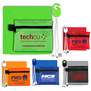 Mobile Tech Charging Cables In Zipper Pouch Components inserted into Polyester Zipper Pouch
