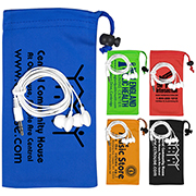 """""""Tuneboom"""" Mobile Tech Earbud Kit in Microfiber Cinch Pouch Components inserted into Microfiber Pouch"""