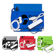 Mobile Tech Power Bank Accessory Kit with Earbuds in Microfiber Cinch Pouch Components inserted into Microfiber Pouch