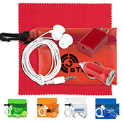Mobile Tech Auto and Home Accessory Kit in Translucent Carabiner Zipper Pouch Components inserted into Polyester Zipper Pouch