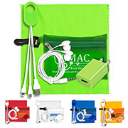 Mobile Tech Earbud and Charging Kit in Translucent Carabiner Zipper Pouch