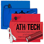 """""""DaySaver"""" Mobile Tech Metal Power Bank Kit in Microfiber Cinch Pouch Components inserted into Microfiber Pouch"""