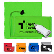 Mobile Tech Auto Accessory Kit in Microfiber Cinch Pouch Components inserted into Microfiber Pouch