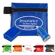 Mobile Tech Auto and Home Charging Kit in Polyester Zipper Pouch Components inserted into Polyester Zipper Pouch