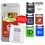 """The Swank Bank"" Silicone Cell Phone Wallet & Screen Cleaner Towellete"