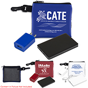 """""""TechMesh Bank Pro"""" Mobile Tech Power Bank Charging Kit in Mesh Zipper Pouch Components inserted into Zipper Pouch"""