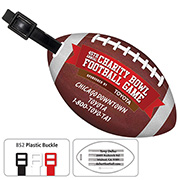 Stock Shape Jumbo Football Luggage Bag Tag with Printed ID Panel