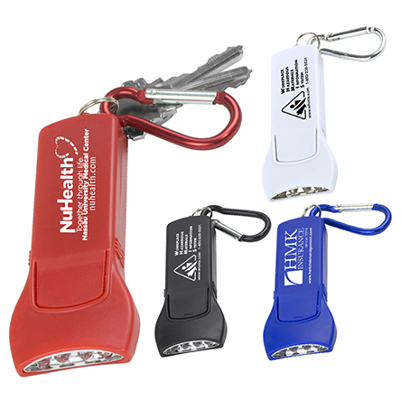 Beamer 4 LED Keyholder Keylite with Carabiner Clip (Spot Color)