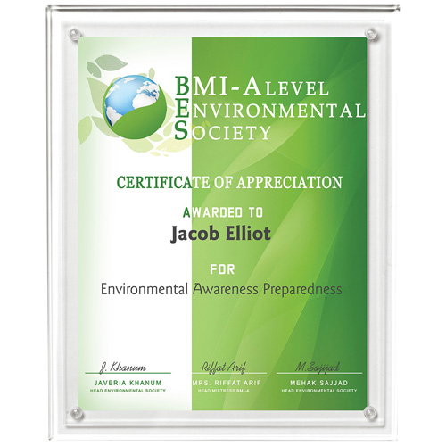 """Certificate Holder - Clear on Clear - 8 1/2"""" x 11"""" Insert"""