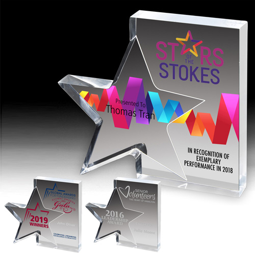 1418S (Screen Print), 1418L (Laser), 1418P (4Color Process) - Standing Star Award