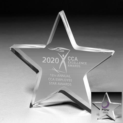 "2049S (Screen Print), 2049L (Laser) - 3/4"" Star Acrylic Paperweight - 5"" x 5"" x 3/4"""