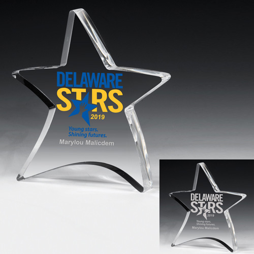 """2053S (Screen Print), 2053L (Laser) - 3/4"""" Thick Moving Star Paperweight - 4-1/2"""" x 5"""""""