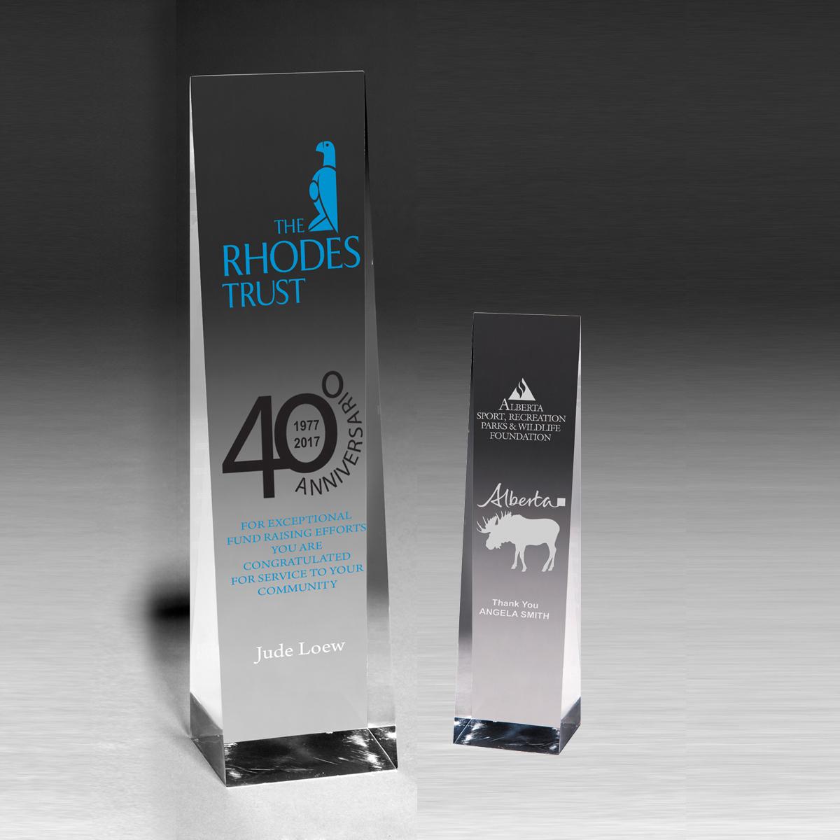 """2225S (Screen Print), 2225L (Laser) - Angeled Obelisk Award - 9 1/2"""""""