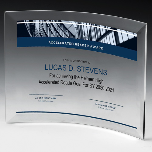 """8 1/2"""" x 10"""" Curved Stand Up Award"""