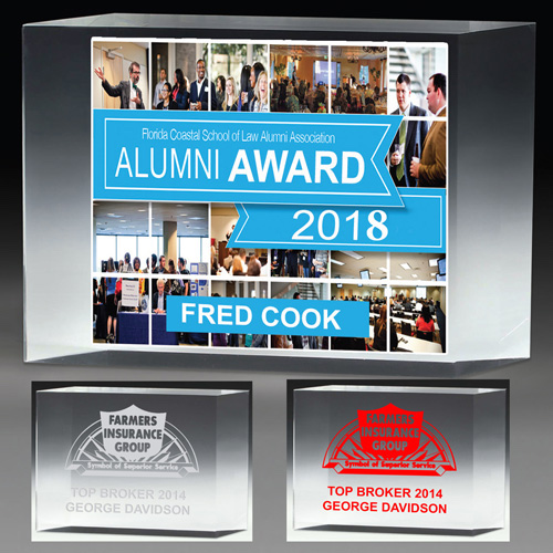 """2307-2S (Screen Print), 2307-2L (Laser), 2307-2P (4Color Process) - 4"""" Thick Freestanding Acrylic Awards - 4"""""""