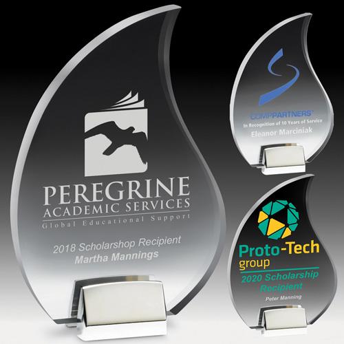 2550S (Screen Print), 2550L (Laser), 2550P (4Color Process) - Flame Award w/ Chrome Base
