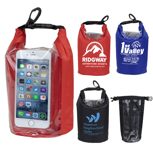 """7.5"""" W x 10.5"""" H """"The Navagio"""" 2.5 Liter Water Resistant Dry Bag With Clear Pocket Window"""