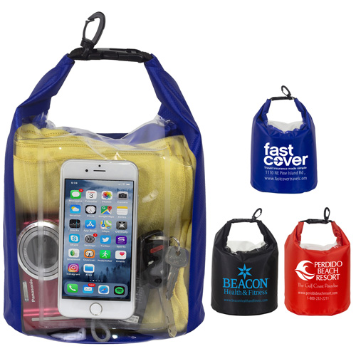 """11"""" W x 14"""" H """"The NavagioL"""" 5.0 Liter Water Resistant Dry Bag With Clear Pocket Window"""