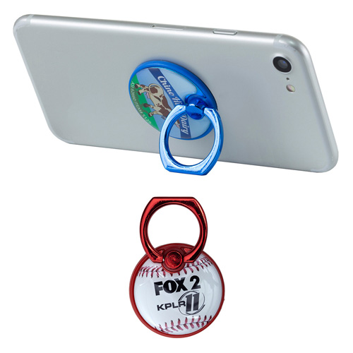 """""""The Twister"""" Colored Cell Phone Metal Ring Holder and Stand w/ Dome Imprint"""