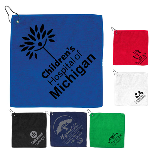 """""""The Wedge"""" 300GSM Heavy Duty Microfiber Golf Towel with Metal Grommet and Clip 12"""" x 12"""""""