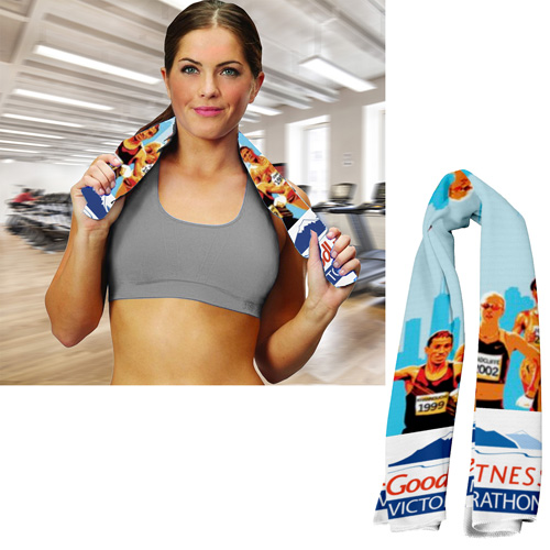 """""""The Full Color Sublimation Rainier"""" Cooling Towel - 12"""" x 30"""" - Overseas Production"""