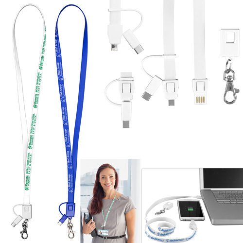 """""""Layton"""" 3-in-1 Lanyard Cell Phone Charging Cable with Type C Adapter"""