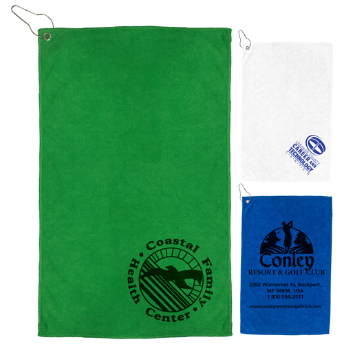 """""""The Iron"""" 300 GSM Heavy Duty Microfiber Golf Towel with Metal Grommet and Clip 12"""" x 18"""""""