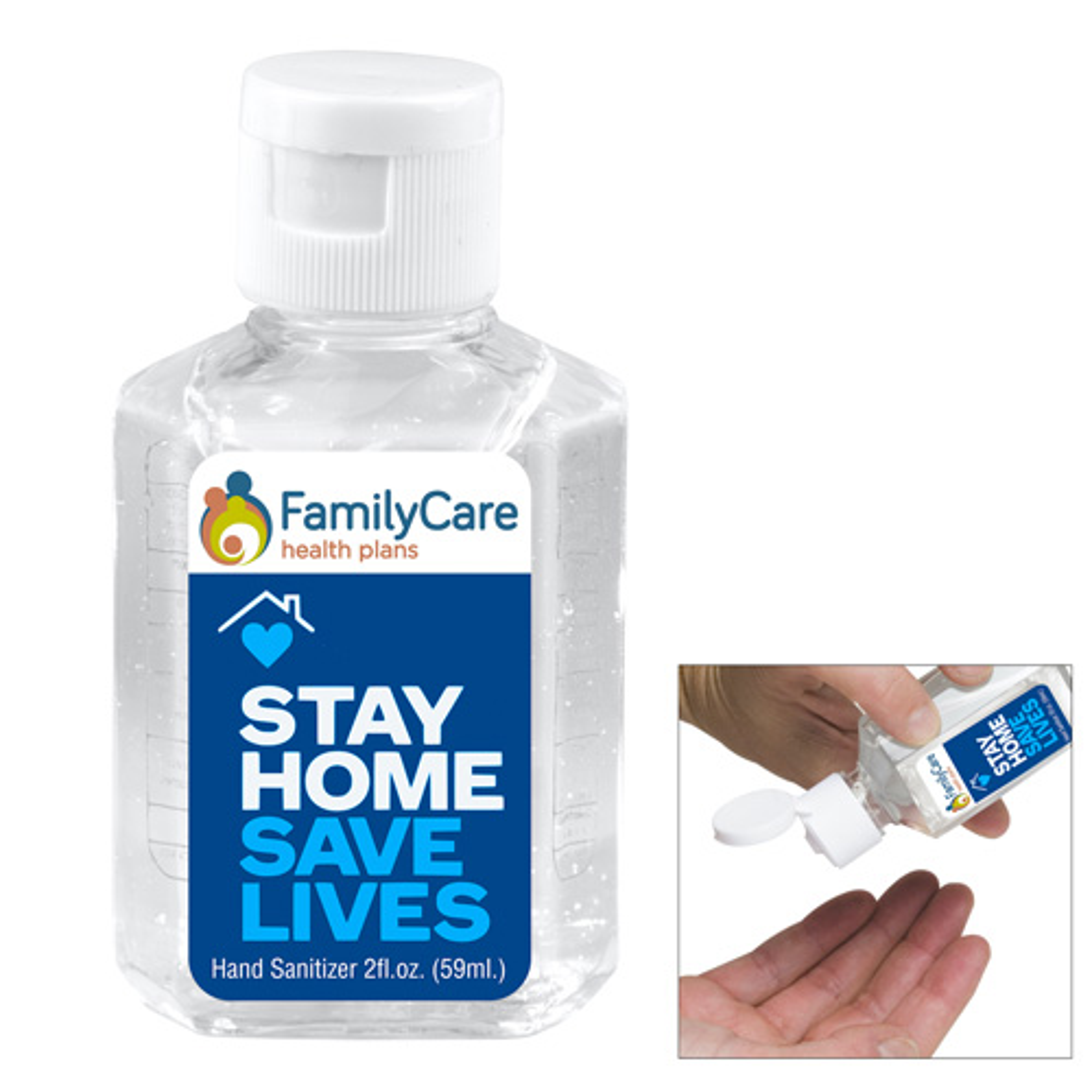 """SanPal L"" 2.0 oz Hand Sanitizer Antibacterial Gel in Flip Top Squeeze Bottle"