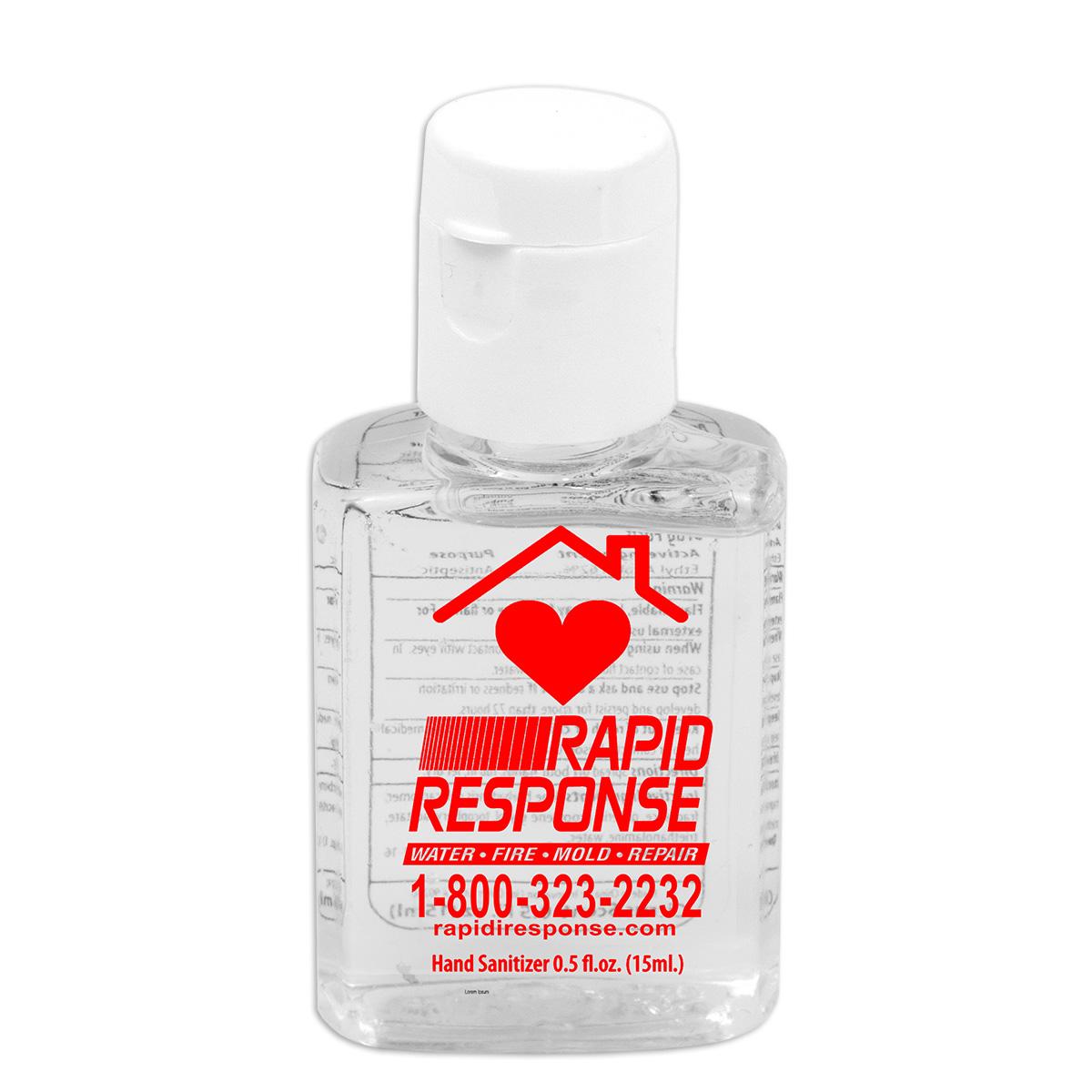 .5 oz Compact Hand Sanitizer Antibacterial Gel in Flip-Top Squeeze Bottle (Spot Color Print)