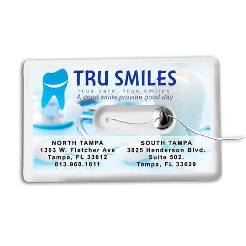 """""""Happy Checkup"""" 44 Yards Credit Card Size Dental Floss Dispenser with Mirror and Pouch"""