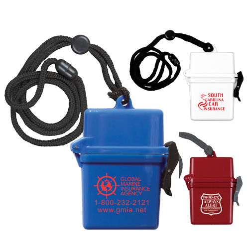 """""""EZ Carry"""" Ultra Thin Hard Plastic Hinged Top Waterproof Container with Breakaway and Adjustable Neck Lanyard"""