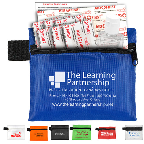 """""""SaniTime"""" 9 Piece Hand Sanitizer Healthy Living Pack in Zipper Pouch Components inserted into Zipper Pouch"""