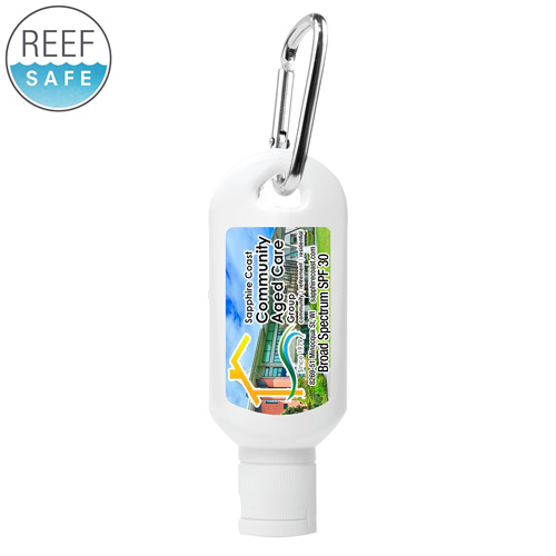"""""""Sunny Day L"""" 2.0 oz Broad Spectrum SPF 30 Sunscreen Lotion in Solid White Carabiner Tottle"""