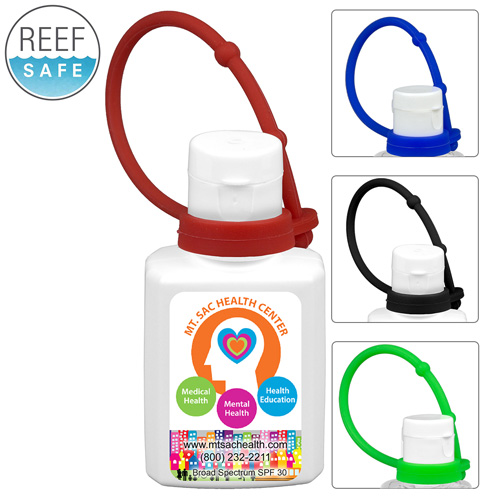 """""""SunFun L Connect"""" 1.0 oz Broad Spectrum SPF30 Sunscreen Lotion in Solid White Flip-Top Squeeze Bottle with Colorful Silicone Leash"""
