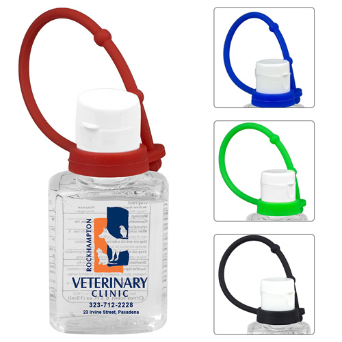 """""""SanPal S Connect"""" 0.5 oz Compact Hand Sanitizer Antibacterial Gel in Flip-Top Squeeze Bottle with Colorful Silicone Leash"""