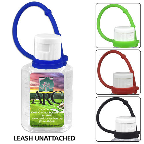 1.0 oz Compact Hand Sanitizer Antibacterial Gel in Flip-Top Squeeze Bottle with Adjustable Silicone Carry Strap