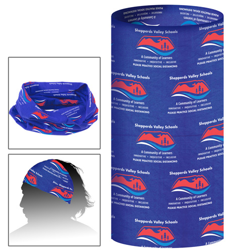 """2-Ply 9 ½"""" W x 19"""" H Multi-Functional Gaiter, Tubular Head And Neck Wear - Overseas Production Sublimated"""