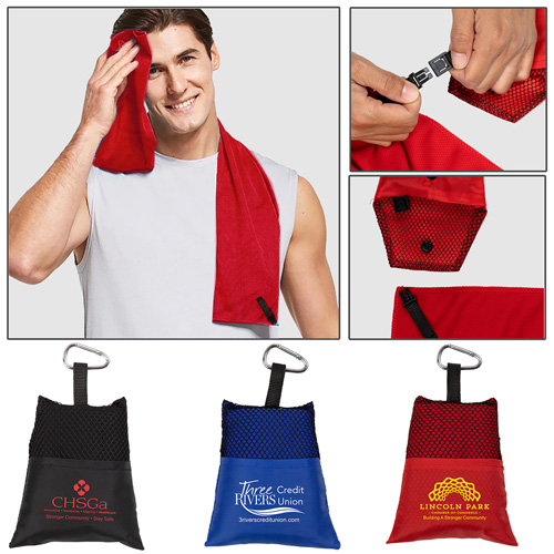 """""""Cool-n-Go"""" Full Size (12"""" x 32"""") Cooling Towel in Carabiner Pouch."""