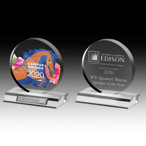"7504-1S (Screen Print), 7504-1L (Laser), 7504-1P (4Color Process) - Clear Circle Award - 6"" Dia"