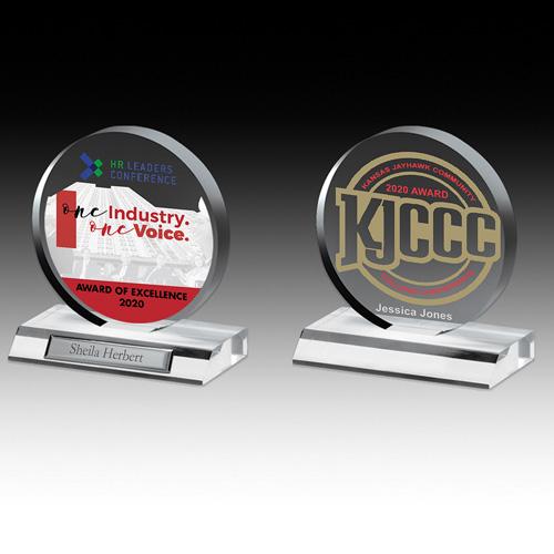 "7504-2S (Screen Print), 7504-2L (Laser), 7504-2P (4Color Process) - Clear Circle Award - 5"" Dia"