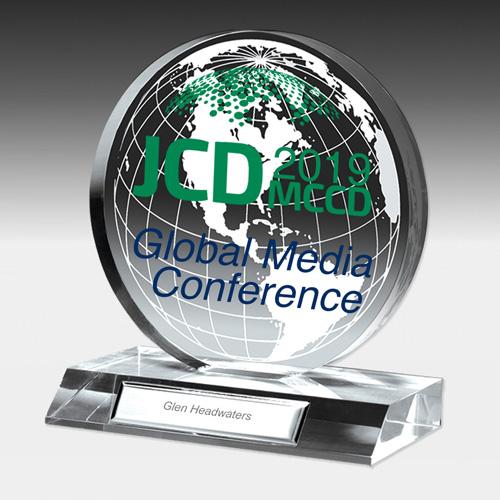 "7504G-1S (Screen Print), 7504G-1L (Laser) - Globe Award - 6"" Dia"