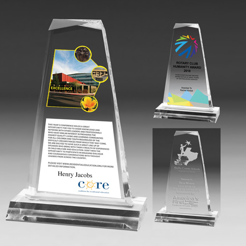 """7541-2S (Screen Print), 7541-2L (Laser), 7541-2P (4Color Process) - Multi-Faceted Acrylic Award - 7 1/4"""""""