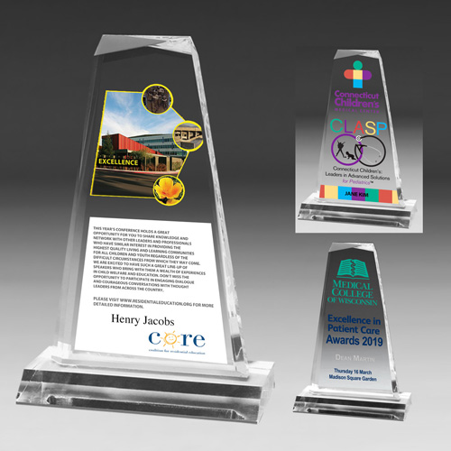 """7541S (Screen Print), 7541L (Laser), 7541P (4Color Process) - Multi-Faceted Acrylic Award - 8 3/4"""""""