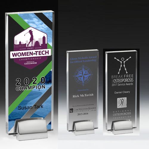 7547S (Screen Print), 7547L (Laser), 7547P (4Color Process) - Rectangle Award w/ Chrome Base