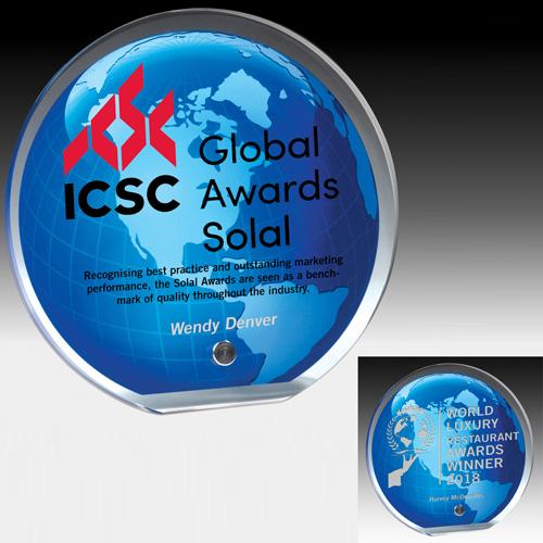 "7568-2S (Screen Print), 7568-2L (Laser) - Globe Graphic Award - 5"" Dia"