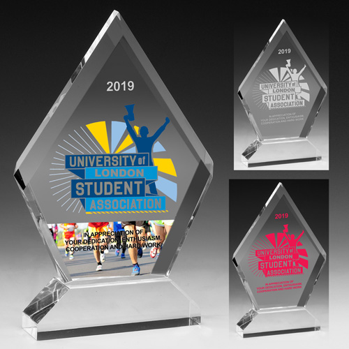 """7570S (Screen Print), 7570L (Laser), 7570P (4Color Process) - Multi-Faceted Acrylic Award  - 6"""" x 7 1/2"""""""